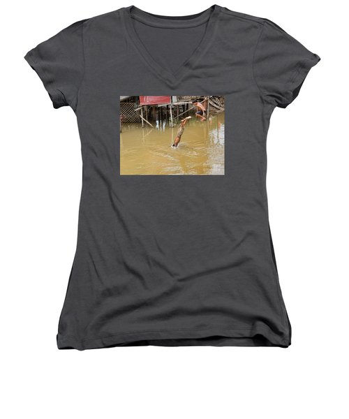 2 Cambodian Boys Dive Color Women's V-Neck T-Shirt (Junior Cut) by Chuck Kuhn
