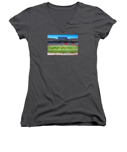 Camp Randall Uw Madison Women's V-Neck T-Shirt (Junior Cut) by Chris Smith