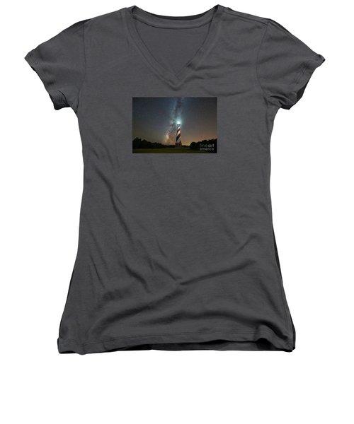 Cape Hatteras Lighthouse Milky Way Women's V-Neck T-Shirt (Junior Cut) by Michael Ver Sprill