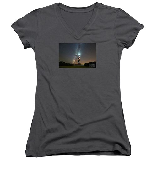 Cape Hatteras Lighthouse Milky Way Women's V-Neck T-Shirt (Junior Cut)