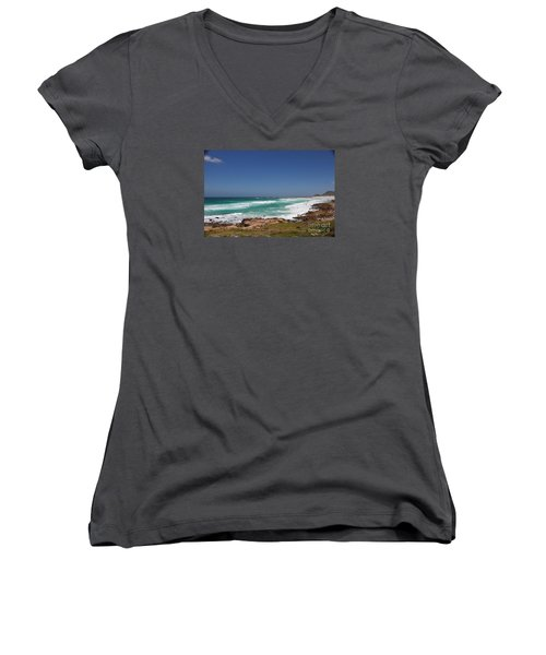 Women's V-Neck T-Shirt (Junior Cut) featuring the photograph Capetown Peninsula Beach  by Bev Conover