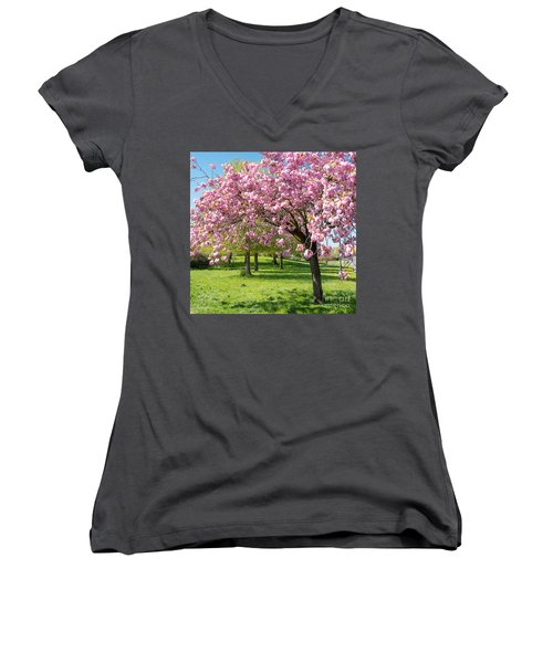 Cherry Blossom Tree Women's V-Neck (Athletic Fit)