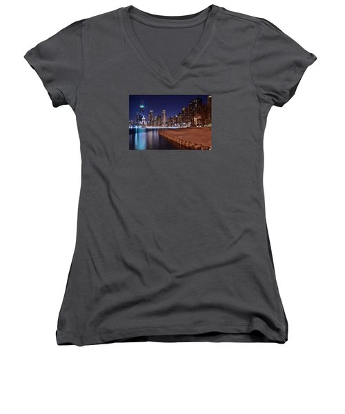 Chicago From The North Women's V-Neck T-Shirt (Junior Cut) by Frozen in Time Fine Art Photography