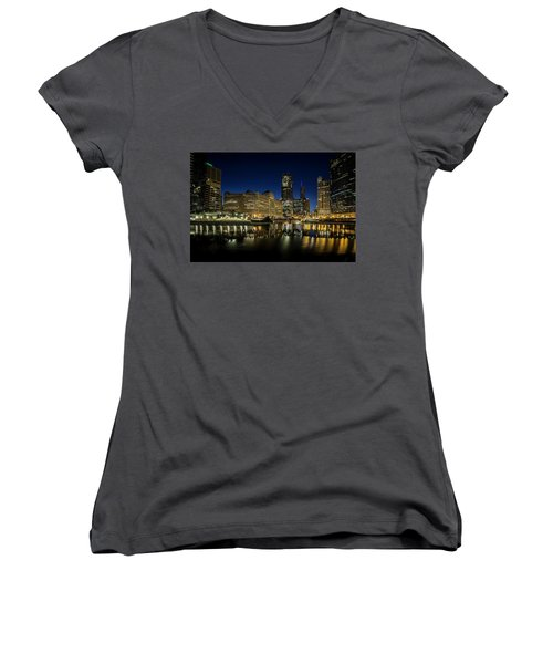 Chicago River And Skyline At Dawn Women's V-Neck
