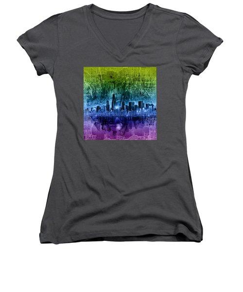 Chicago Skyline Abstract Women's V-Neck T-Shirt