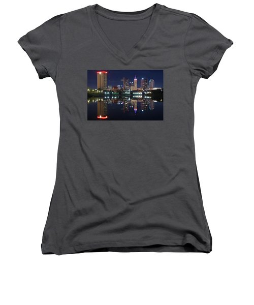 Columbus Ohio Women's V-Neck T-Shirt (Junior Cut) by Frozen in Time Fine Art Photography