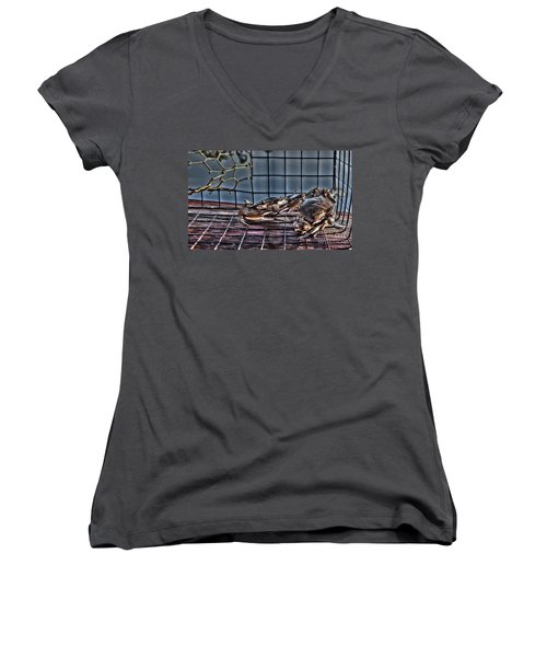 2 Crabs In Trap Women's V-Neck