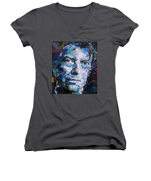 Women's V-Neck T-Shirt (Junior Cut) featuring the painting David Bowie by Richard Day
