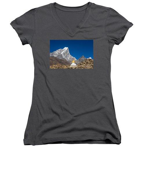 Dingboche Stupa In Nepal Women's V-Neck T-Shirt