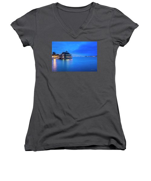 Women's V-Neck (Athletic Fit) featuring the photograph Dinner On The Bay by Dan McGeorge