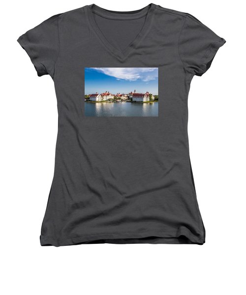 Disney's Grand Floridian Resort And Spa Women's V-Neck T-Shirt (Junior Cut) by Sara Frank