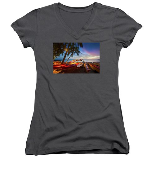Evening Falls Women's V-Neck T-Shirt (Junior Cut)
