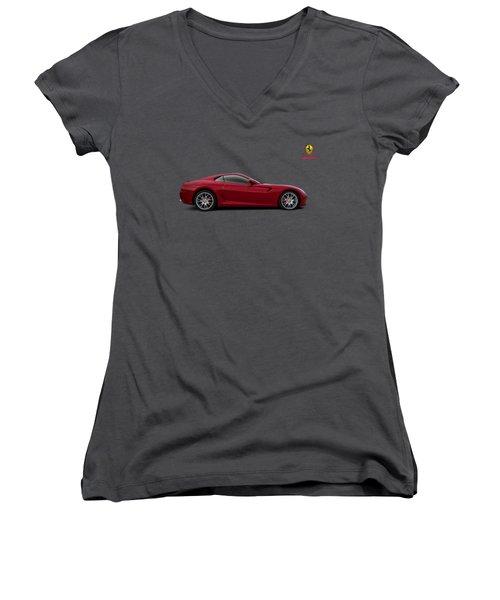 Women's V-Neck T-Shirt (Junior Cut) featuring the digital art Ferrari 599 Gtb by Douglas Pittman