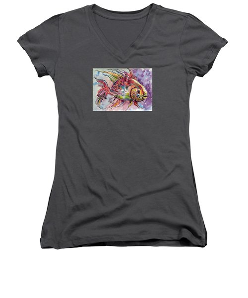 Fish Women's V-Neck T-Shirt (Junior Cut)