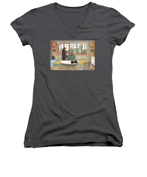 Flowers On The Windowsill Women's V-Neck