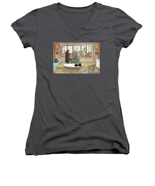 Flowers On The Windowsill Women's V-Neck (Athletic Fit)