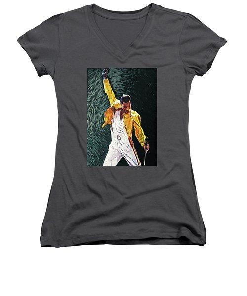 Freddie Mercury Women's V-Neck (Athletic Fit)