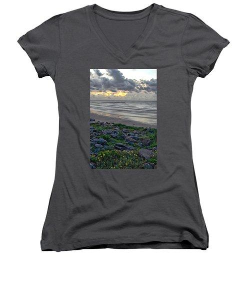 Galveston Sunrise Women's V-Neck T-Shirt