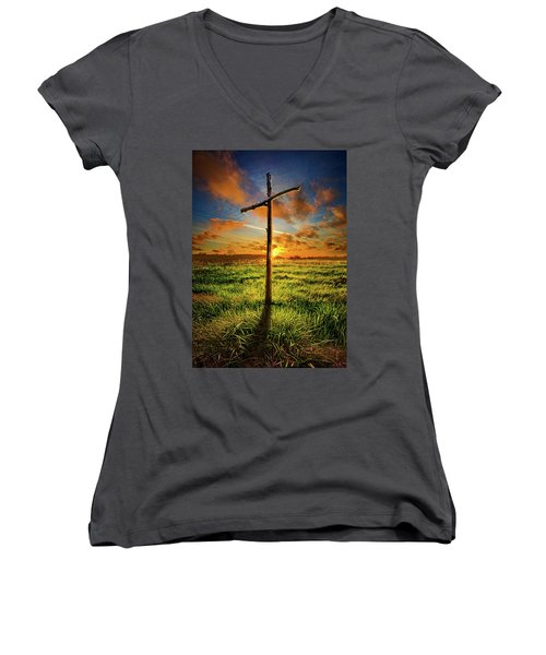 Women's V-Neck T-Shirt (Junior Cut) featuring the photograph Good Friday by Phil Koch