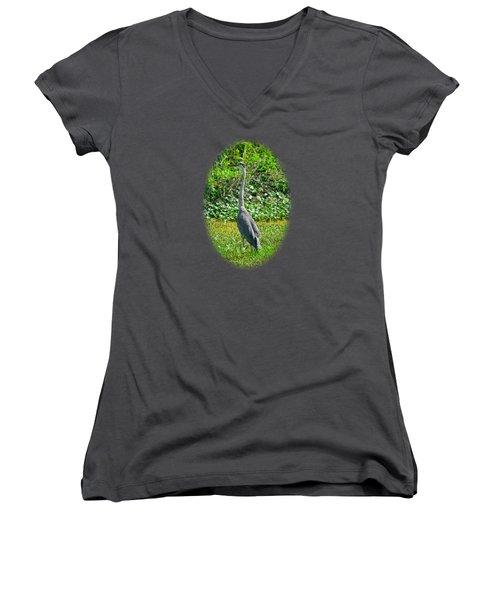 Great Blue Heron Women's V-Neck T-Shirt (Junior Cut) by Deborah Good