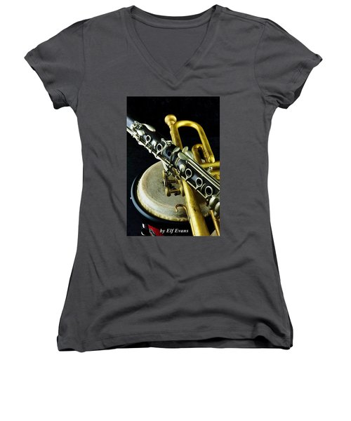 Women's V-Neck T-Shirt featuring the photograph Jazz by Elf Evans