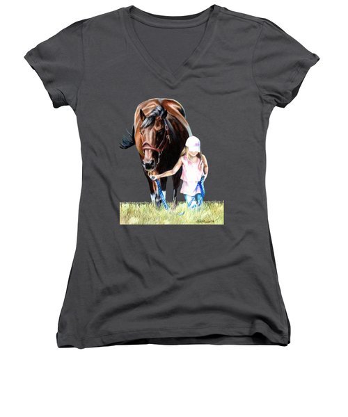 Just A Girl And Her Horse  Women's V-Neck T-Shirt (Junior Cut) by Shana Rowe Jackson