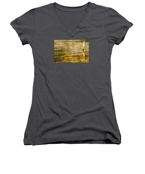 Lake Reflection Women's V-Neck T-Shirt (Junior Cut) by Odon Czintos