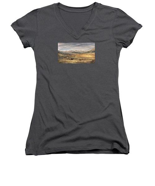 Lamar Valley Women's V-Neck T-Shirt (Junior Cut) by CR  Courson