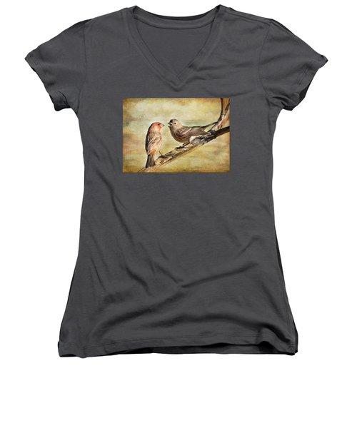 2 Little Love Birds Women's V-Neck T-Shirt (Junior Cut) by Barbara Manis