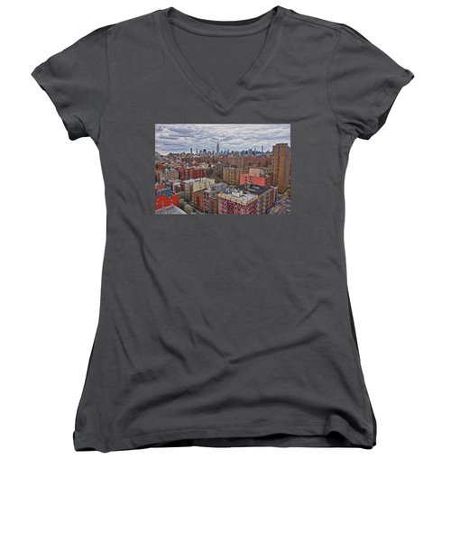 Women's V-Neck T-Shirt featuring the photograph Manhattan Landscape by Joan Reese