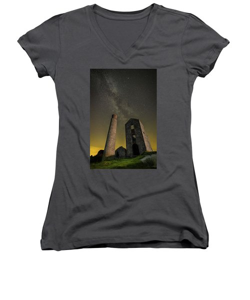 Milky Way Over Old Mine Buildings. Women's V-Neck (Athletic Fit)