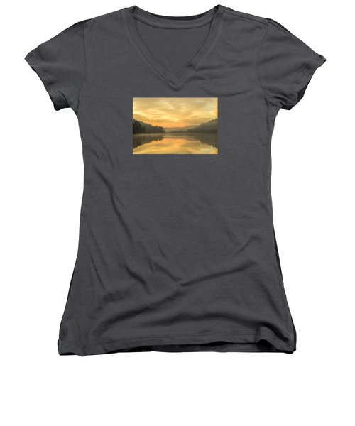 Misty Morning On The Lake Women's V-Neck T-Shirt (Junior Cut) by Thomas R Fletcher