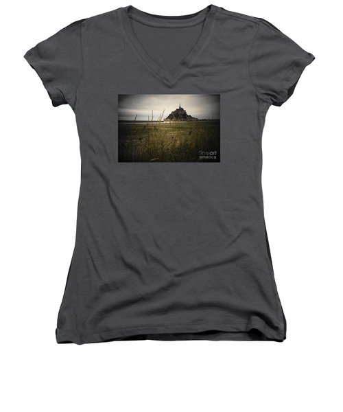 Mont St Michel Women's V-Neck T-Shirt (Junior Cut) by Therese Alcorn