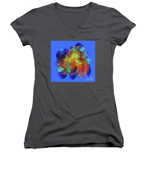 Multicolored Abstract Figures Women's V-Neck