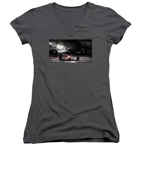 Night Moves Women's V-Neck T-Shirt (Junior Cut) by Peter Chilelli