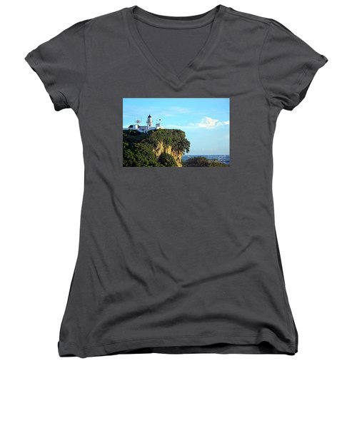 Women's V-Neck T-Shirt (Junior Cut) featuring the photograph Old Lighthouse Overlooking Kaohsiung Harbor by Yali Shi