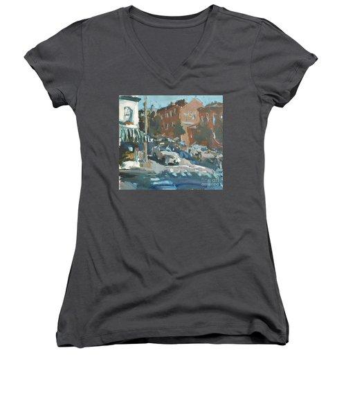 Women's V-Neck T-Shirt (Junior Cut) featuring the painting Original Contemporary Urban Painting Featuring Richmond Virginia by Robert Joyner