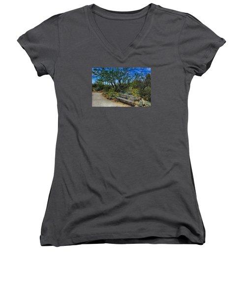 Peaceful Moment Women's V-Neck T-Shirt (Junior Cut) by Elaine Malott