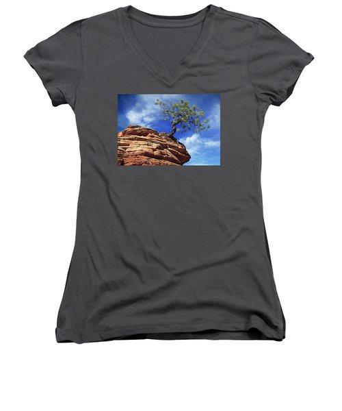 Pine Tree In Sandstone Women's V-Neck