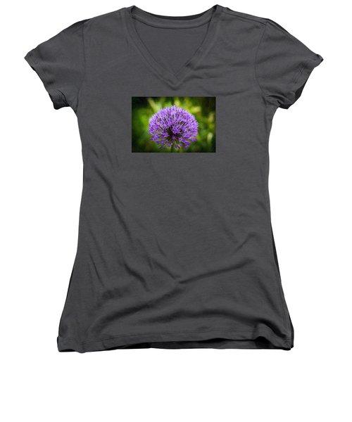 Pink Flower Women's V-Neck T-Shirt (Junior Cut) by Andre Faubert