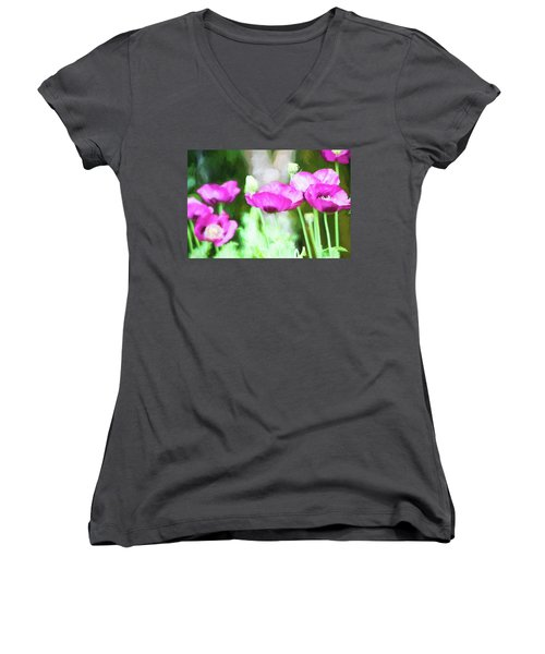 Women's V-Neck T-Shirt (Junior Cut) featuring the painting Poppies by Bonnie Bruno