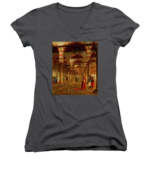 Women's V-Neck T-Shirt (Junior Cut) featuring the painting Prayer In The Mosque by Jean-Leon Gerome