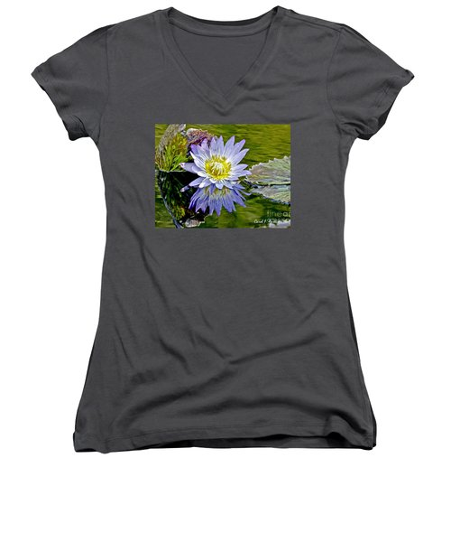 Purple Water Lily Pond Women's V-Neck T-Shirt (Junior Cut) by Carol F Austin
