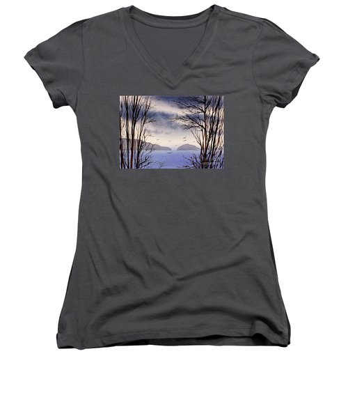 Women's V-Neck T-Shirt (Junior Cut) featuring the painting Quiet Shore by James Williamson