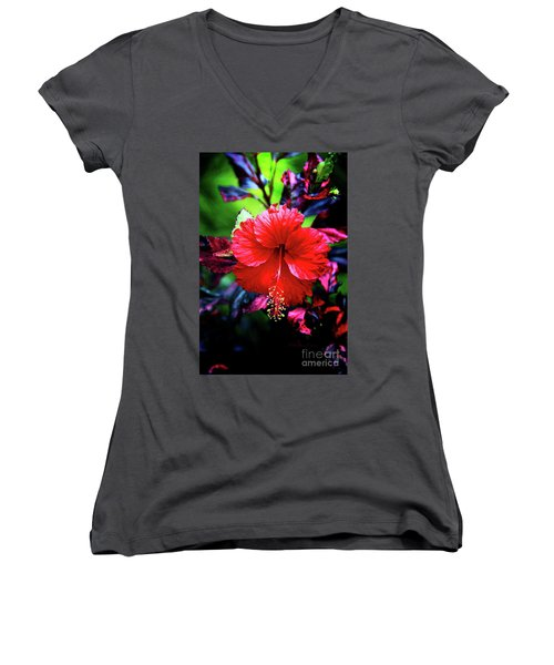 Red Hibiscus 2 Women's V-Neck T-Shirt (Junior Cut) by Inspirational Photo Creations Audrey Woods