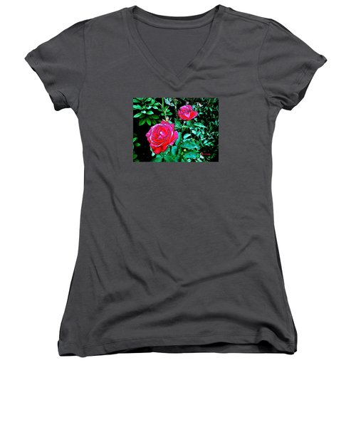 Women's V-Neck T-Shirt (Junior Cut) featuring the photograph 2 Red Roses by Sadie Reneau