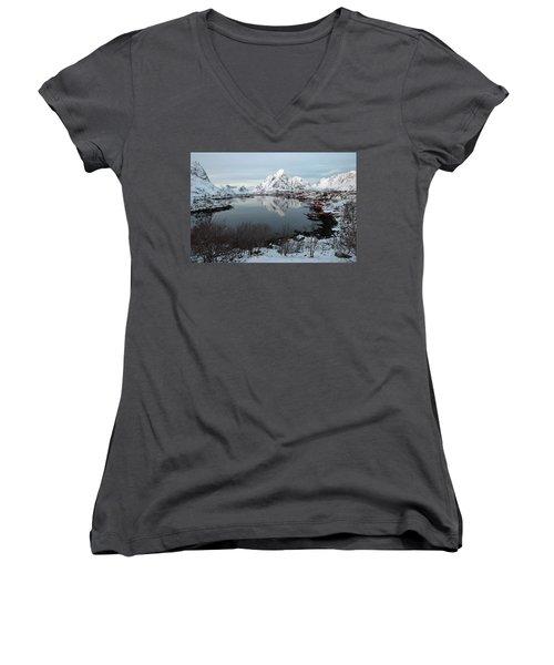 Women's V-Neck T-Shirt featuring the photograph Reine, Lofoten 4 by Dubi Roman