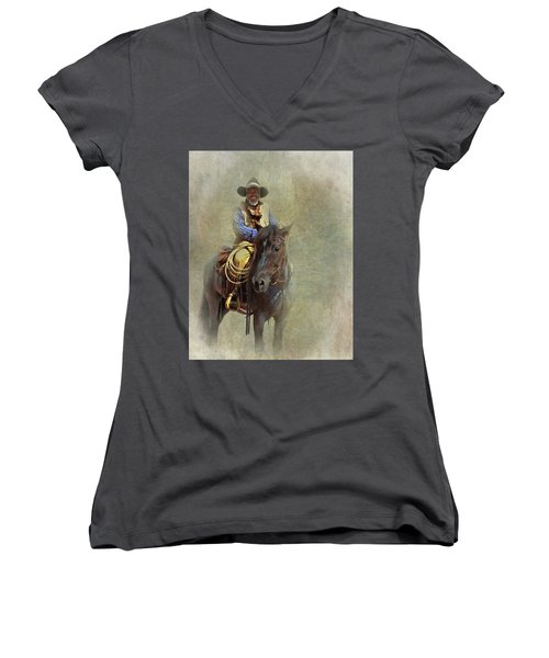 Women's V-Neck T-Shirt (Junior Cut) featuring the photograph Ride Em Cowboy by David and Carol Kelly
