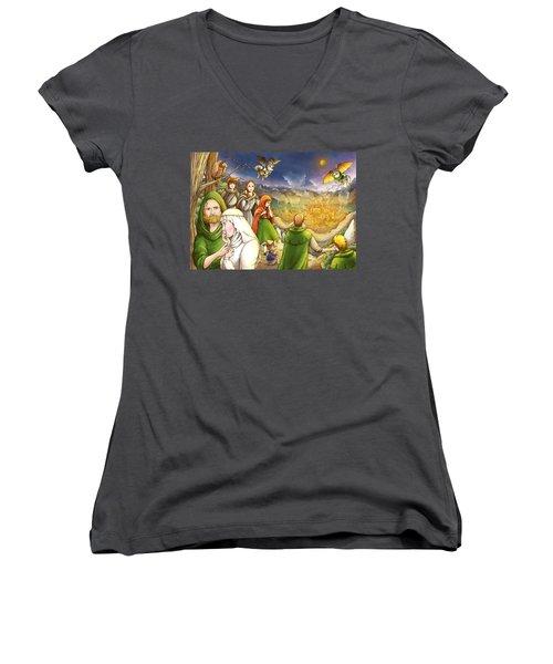 Robin Hood And Matilda Women's V-Neck T-Shirt (Junior Cut) by Reynold Jay