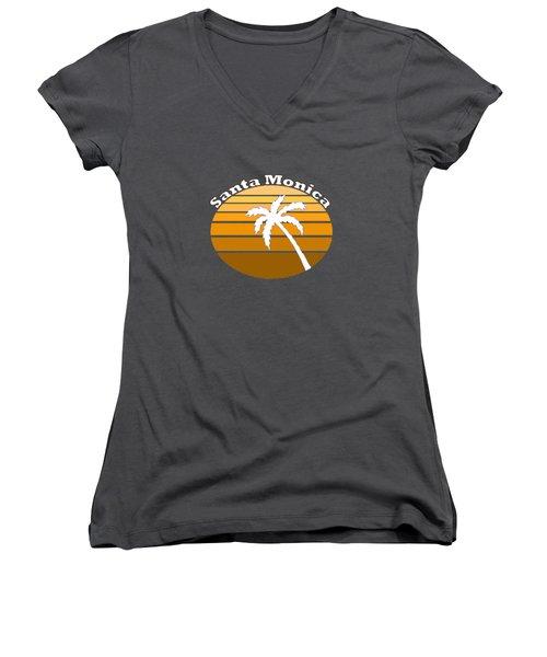 Santa Monica Women's V-Neck T-Shirt (Junior Cut) by Brian's T-shirts
